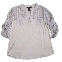 Style & Co, Lace-Trim Knit Top, Stonewall, Size Medium - $26.98