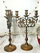 "PAIR OF ANTIQUE BRASS 3 Light Sabbath Shabbos Candelabrum 14 1/4"" T X 9"" W  image 2"