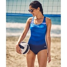 NEW Speedo Rhythmic Wave Powerflex One-Piece Swimsuit Starry Blue size 10 - $54.44