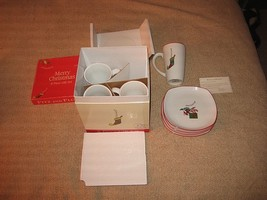 *NEW* Fitz & Floyd Merry Christmas Gift Set 4 Mugs & 4 Snack Plates Set  - $383,74 MXN