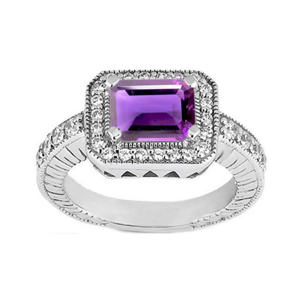Women's Wedding Ring Rectangular Shape Amethyst 14k White Gold Plated 925 Silver