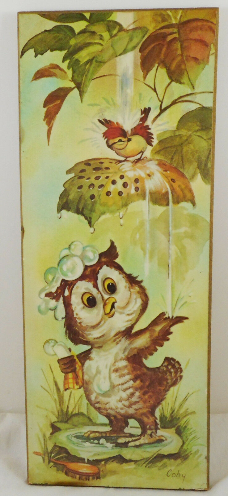 Vintage Coby Bathing Owl Print Mounted On Wood Plaque Picture Hanging Nursery