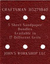 CRAFTSMAN 315279840 - 1/4 Sheet - 17 Grits - No-Slip - 5 Sandpaper Bulk Bundles - $7.14
