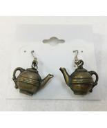 """Teapot Earrings Dangling Brass Metal Vintage 1.25"""" Kettle Hook Tea Pot Drop - $12.86"""