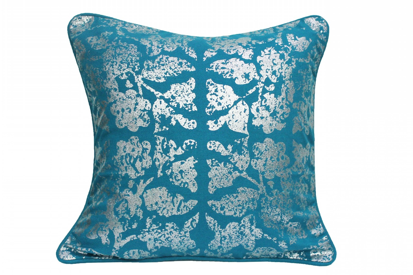 Foil Print Blue Cushion Cover pillow case