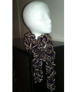 Deep Purple & Gold Ruffle Crochet Scarf - $18.00