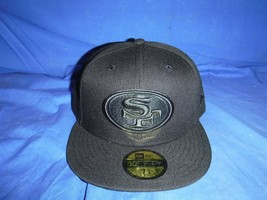 New Era San Francisco 49ers 59Fifty Black on Black Fitted Hat Size 7 5/8... - $25.73