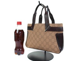 Authentic GUCCI GG Pattern Canvas Leather Browns Mini Hand Bag GH16098L - $139.00