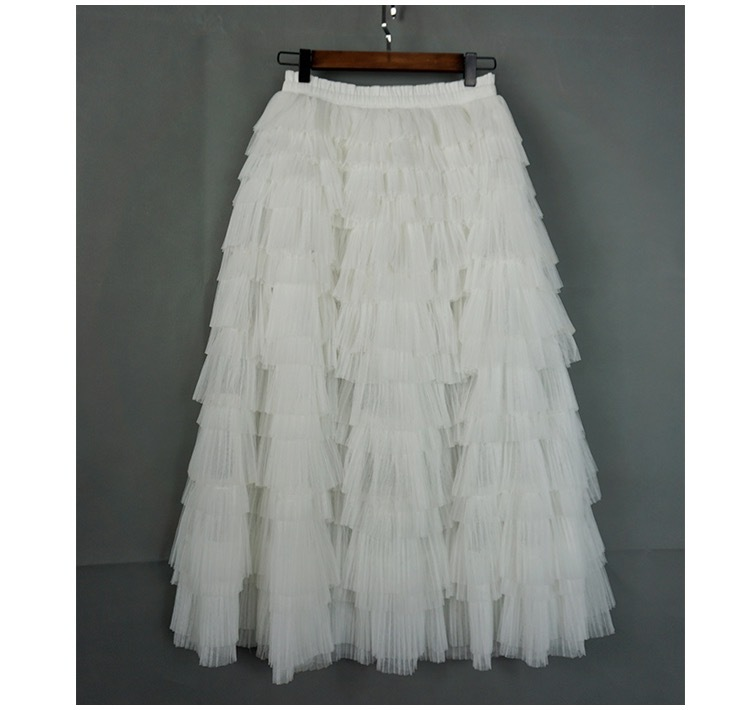 WHITE Layered Tulle Midi Skirt High Waisted Tulle Ruffle Skirt Wedding Outfit