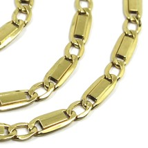 """18K YELLOW GOLD CHAIN GOURMETTE ALTERNATE FLAT PLATES  SQUARE LINKS 4.8 mm, 22"""" image 2"""