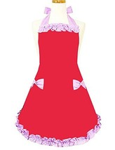 Hyzrz Cute Red and Pink Handmade Kitchen Restaurant Aprons for Girls Wom... - $10.72