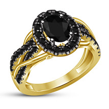 14k Yellow Gold Plated 925 Silver Oval Shape Black CZ Wedding Anniversary Ring - $79.64