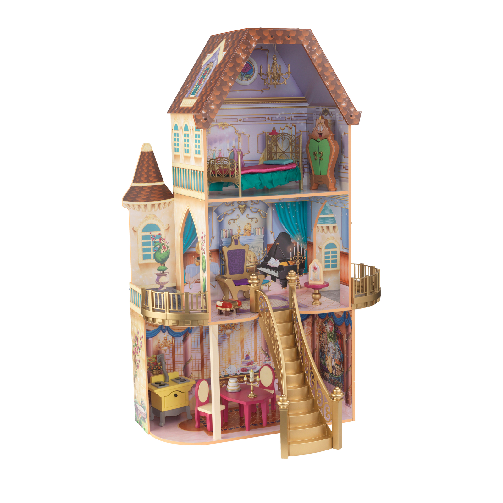 Disney Princess Belle Enchanted Dollhouse w/Furniture and Accessories image 2
