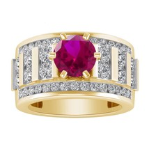 3.15 Ct.tw Round Ruby 14K Yellow Gold Over Solitaire Engagement Wedding ... - £88.84 GBP