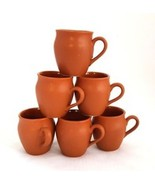 Earthenware Pottery coffee mug cup Set Of 6 Tea Cups terracotta Kitchen ... - $24.00