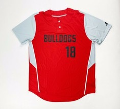 Russell Two-Button Bulldogs Baseball Jersey Men's Large #18 Red Gray 3R6... - $25.73