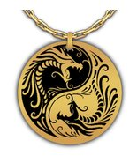 Yin And Yang Dragons Taijitu Laser Engraved Round Pendant Necklace - Sta... - $29.69
