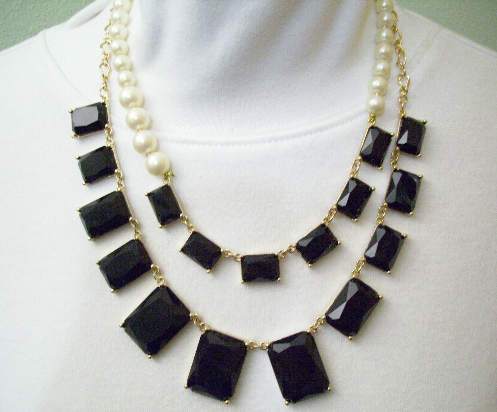 Pearls JET Black Rhinestone DRAMATIC 2 Strand Necklace Chain ASYMMETRICAL Estate