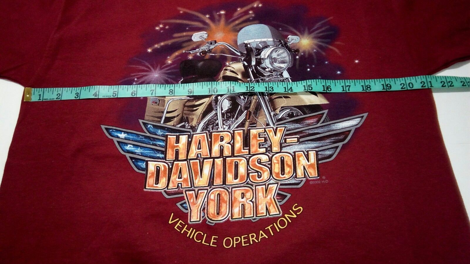 NWOT Harley Davidson York Vehicle Operations 2002 Men's L Red Hanes Beefy TShirt image 9
