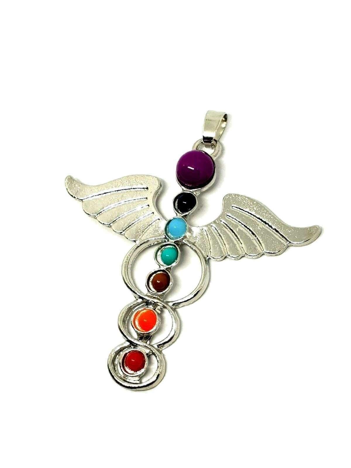 Hermes Winged Beautiful Chakra Silver Tone Guardian Angel Wing Pendant Gift image 2