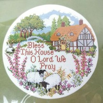 Creative Circle Bless This House Needlepoint Kit Home 13 x 13 Floss 1986 Sealed - $25.00