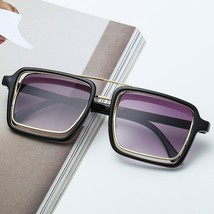Oversized Metal Sunglasses Square Frame Men Womens Retro Gradient Elegan... - $17.77