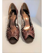 Tribeca by Kenneth Cole Brown Woven Leather Stacked Heel Open Toe Sandal... - $25.00