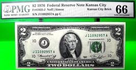 MONEY US $2 1976 FEDERAL RESERVE NOTE KANSAS CITY PMG GEM UNC FR 1935 J  - $144.00