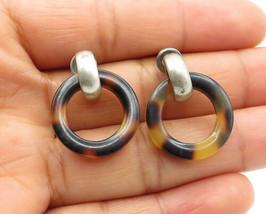 925 Sterling Silver - Vintage Tortoise Shell Ring Design Dangle Earrings... - $26.18