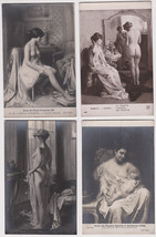 Group of (4) Original vintage 1920s Art Deco NUDE painting RPPCs - $15.76
