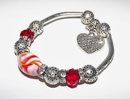 NEW MURANO GLASS & STAINLESS STEEL HEART CHARM BRACELET HANDMADE IN ITALY - $34.60