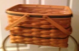 Longaberger 1997 Large Market Basket w/ Protector Dark Blue Weave 2 Swin... - $58.79
