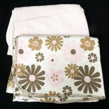 Set of 2 Carters Receiving Blankets Girls Pink Brown Floral Dots 100% Co... - $10.34 CAD