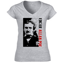 Edgar Allan Poe Poet 1 - New Cotton Grey Lady Tshirt - $25.79