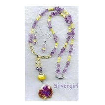 Lovely Lampwork Bali Amethyst Necklace and Earrings - $39.99