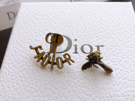 """SALE** AUTH Christian Dior 2019 """"J'ADIOR"""" EARRINGS Aged Gold Bee Wasp image 8"""