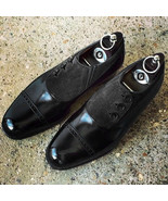 Handmade Men's Black Cap toe Shoes, Dress Shoes Leather Suede Button Men... - $169.97+