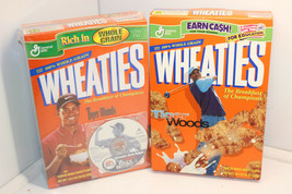 LOT OF 2 TIGER WOODS 2000 2001 COLLECTIBLE WHEATIES FULL BOX CEREAL BOXES - $62.99