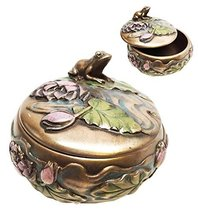 Decorative Pond Charming Frog Toad Sitting On Lilypad Lily Petals Collectible Je - $23.70