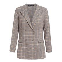 Women's  Double Breasted Plaid Blazer Pant Suit Set image 7