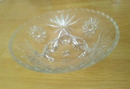 Vintage Anchor Hocking Prescut/EAPG Star Of David Footed Bowl 1950's  - $9.90