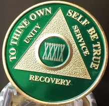39 Year AA Medallion Green Gold Plated Alcoholics Anonymous Sobriety Chi... - $20.39