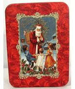 Santa Claus w/ Children Scene Hallmark Christmas Cards Tin ONLY - $9.89