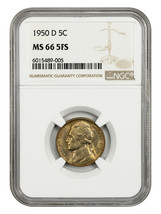1950-D 5c NGC MS66 5FS - Jefferson Nickel - $92.15