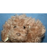 "Eden DOG 12"" Brown Furry Plush Stuffed Animal Red Bow Lying Cream Ears H... - $67.70"