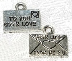 "LETTER ""TO YOU WITH LOVE""  FINE PEWTER PENDANT CHARM - 14.5x13x1.5mm"