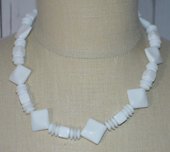 White Acrylic Geometric Diamond Shape Bead Beaded Choker Necklace Vintage - $19.80