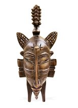 West African Vintage Tribal Ivory Coast Small Senufo Passport Mask with ... - $38.00