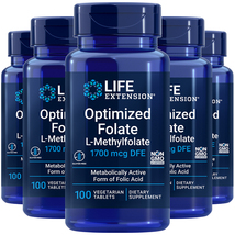 Optimized Folate L-Methylfolate 1700 mcg - 5X100 Veg Tabs Life Extension - $46.77