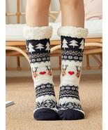 Women Christmas Santa Claus Elk Sock Plus Velvet Floor Socks - £12.39 GBP